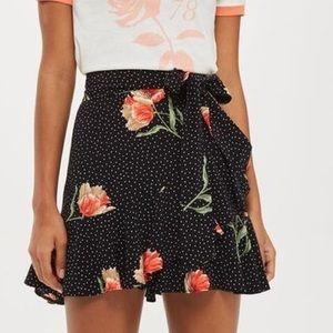 Topshop Black Floral Polka Dot Ruffle Tie Skirt